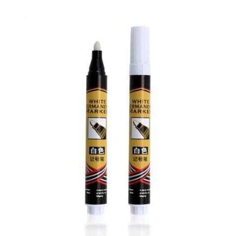 2 PCS Single Headed White Magic Marker Pen Mark Optical Disc Glass Ceramic Plastic Oily Marker(White)
