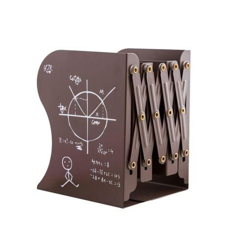 Cartoon Battleman Pattern Bookshelf Metal Bookend Desk Holder Stand Stretchable Bookstand Organizer Stationery(Brown)