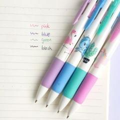2 PCS Cartoon Animals Plants 4 Colors Chunky Ballpoint Pen School Office Supply Gift Stationery,Random Color Delivery
