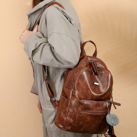 Fashion Retro PU Leather Ladies Double Shoulders Backpack Double Zipper Handbag Single-shoulder Bag with Plush Ball (Brown)