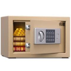 Deli Home Office Hotel Mini Electronic Security Lock Box Wall Cabinet Safety Box(Gold)