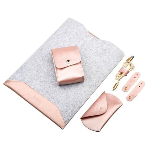 4 in 1 Laptop Crazy Horse Texture Fur Felt Inner Bag + Power Bag + Mouse Storage Bag + 3 Earphone Cable Winders for MacBook 12 inch(Rose Gold)