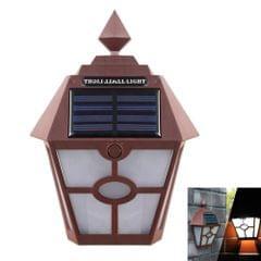 Solar Retro Hexagonal LED Wall Lamp Outdoor Light Sensor Control Landscape Light (Brown)