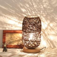 USB Wood Rattan Twine Ball Lights Table Lamp Room Home Art Decorative Desk Light(Brown)