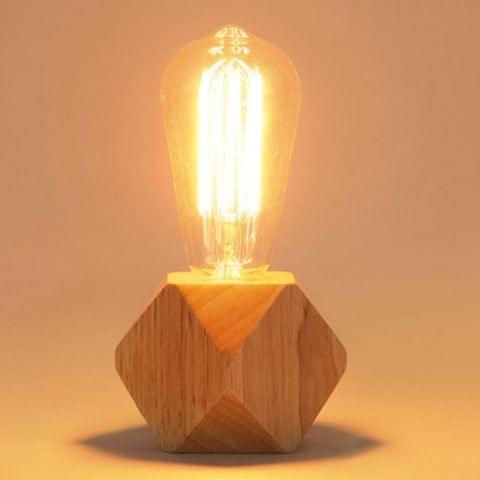 Solid Wood Decoration LED Night Light Modern Minimalist Warm Bedroom Bedside Lamp Small Table Lamp without LED Bulbs, EU Plug