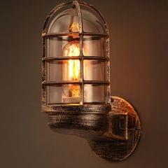 Retro Industrial Cage Wall Lamp Attic Interior Lighting Iron Copper Wall Lamp without Bulb(Bronze)