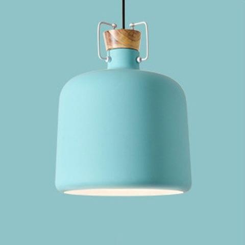 YWXLight Single Head Restaurant Chandelier Modern Minimalist Wooden Chandelier Lamps (Blue)