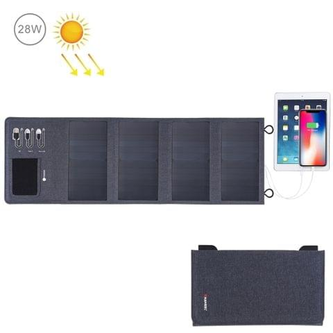 HAWEEL 28W Foldable Solar Panel Charger 8000mAh Power Bank with 5V 3.5A Max Dual USB Ports(Black)                                               ()
