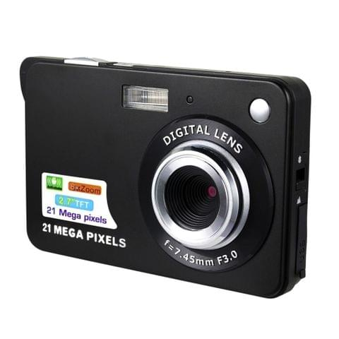 21M Pixels Children Digital Camera 2.7 inch Color Display Card Style Digital Photo Video Record  Camera HD 8x Zooming Smart Automatic Camera(Black)