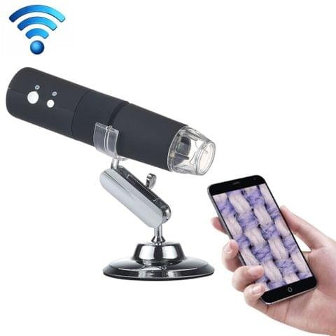 50X~1000X Magnifier HD Image Sensor 1920x1080P USB WiFi Digital Microscope with 8 LED & Professional Stand (Black)