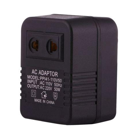 110V to 220V 50W AC Power Socket Adapter,  EU/US Plug to US Plug(Black)