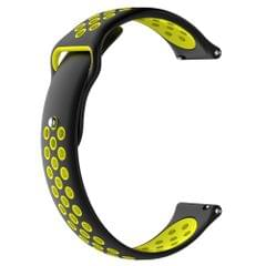 Double Color Wrist Strap Watch Band for Galaxy S3 Ticwatch Pro (Black Yellow)