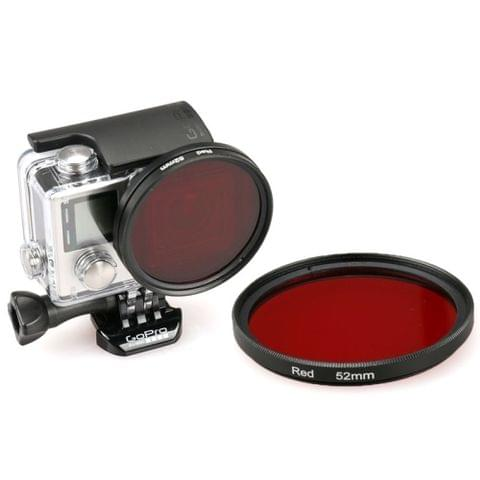 52mm Round Circle Color UV Lens Filter for GoPro HERO 4 / 3+(Red)