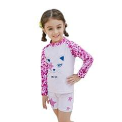 Girl Two-Piece Long Sleeve Swimsuit + Cap Set UPF50+ Sun Protection Quick-dry Rash Guards Swimwear Bathing suit For Kids Toddler Orange 90CM