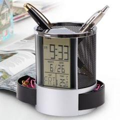 Pen Pencil Holder Digital LCD Desk Alarm Clock