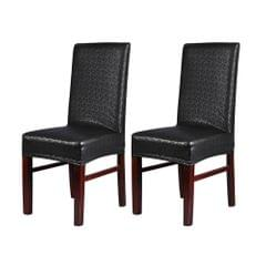 2pcs One-piece PU Leather Lace Pattern Dining Chair Seat Cove Waterproof Oilproof Dustproof Stretchable Chair Slipcove Protecto--Red