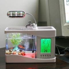 Desktop Fish Tank with LED Clock
