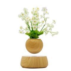 Magnetic Levitation Floating Plant Pot Levitating Rotating Suspension Flower Air Bonsai Pot Flowerpot with Wooden Base for Home Office Decoration EU Plug