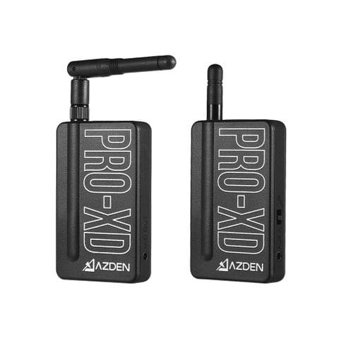 AZDEN i-Coustics PRO-XD 2.4GHz Digital Wireless Microphone System Include Transmitter Receiver Lapel microphone Auto Sync 35m+ Operating Range Compatible USB Charging for Smartphone DSLR Camera Camcorder