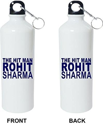 Crazy Sutra Classic Printed Cricket Special Water Bottle/Sipper White - 600Ml [Sipper-TheHitManRohitSharma]
