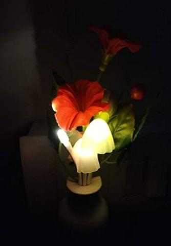STRIPES Beautiful and Romantic Multi-Color Mushroom with Rose and Leaf Sensor Led Night Lights for Home