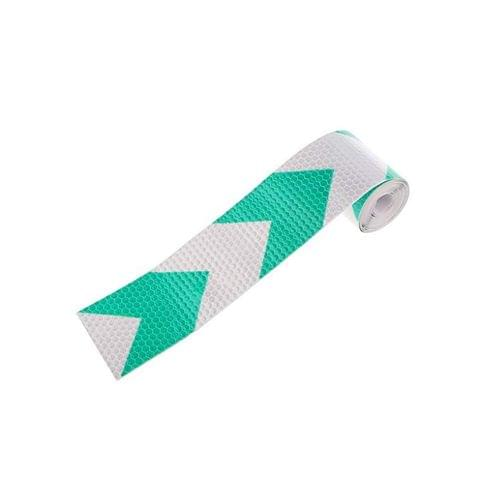 Imported Reflective Warning Conspicuity Tape Arrow Pattern Sticker -Green with White