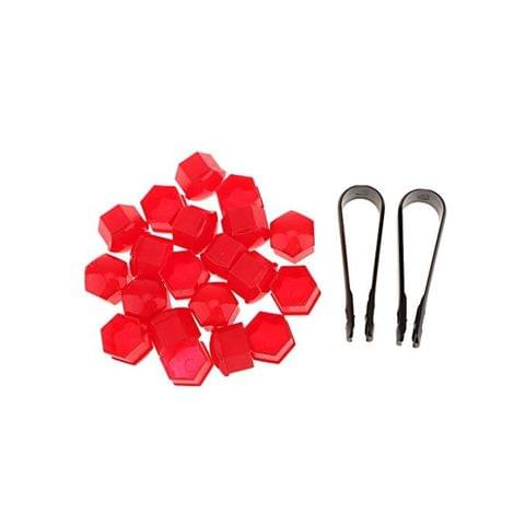 20x T39 Wheel Lug Bolt Nut Cap Center Cover for For Audi Skoda + Tool - red