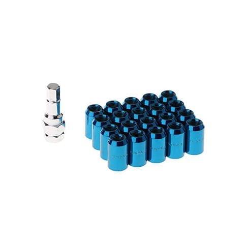 20 Pieces Universal Auto Car M12x1.5MM Wheel Rim Lug Nuts with Removal Tool - blue