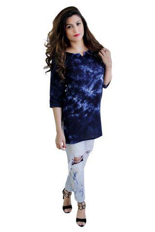 Blue Color Batik Print Short Kurti