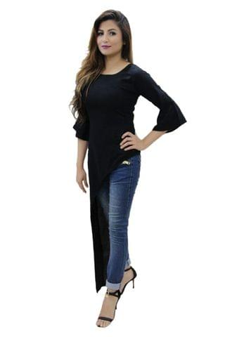 Black Color High-low Maxi Top With Bell Sleeves