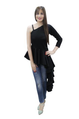 Solid Black Side High Low Ruffle Maxi Top