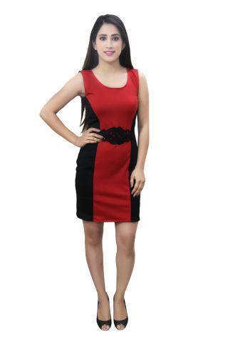 Red and Black colour bodycon designer lycra dress