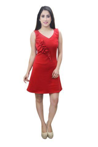 Red colour designer party wear A line dress
