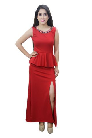 Peplum style Red colour maxi dress with front slit and work over neck