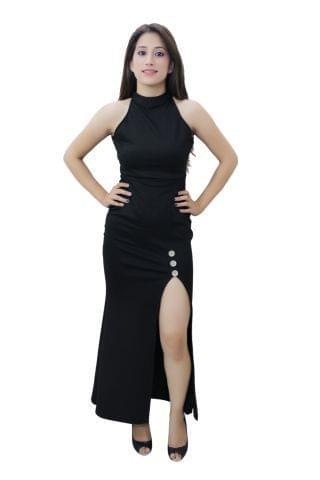 Black color High slit maxi dress
