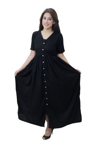 Rayon Black color Maxi Dress with buttons at front