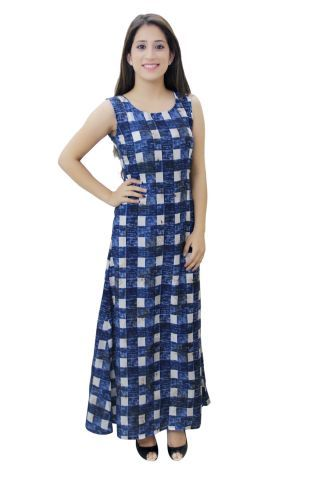 Blue and White Printed A- Line Fusion Maxi Dress