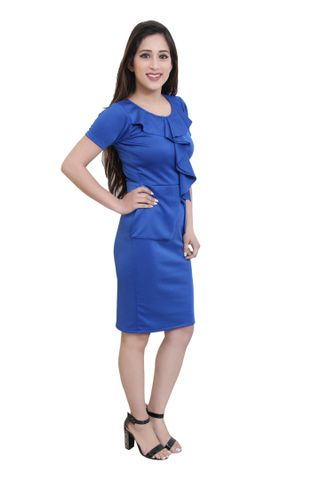 Solid Blue Bodycon With Ruffles