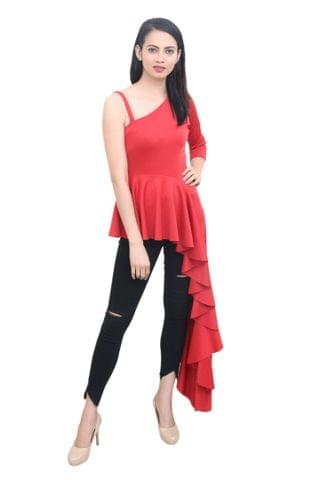 Solid Red Maxi Top With Asymmetric hemline.