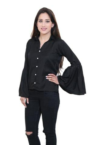 Solid Black Top With Shirt Collar