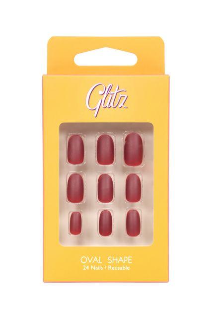 جليتز اظافر صناعية لصق ذاتي لون عنابي غامق مطفي #5