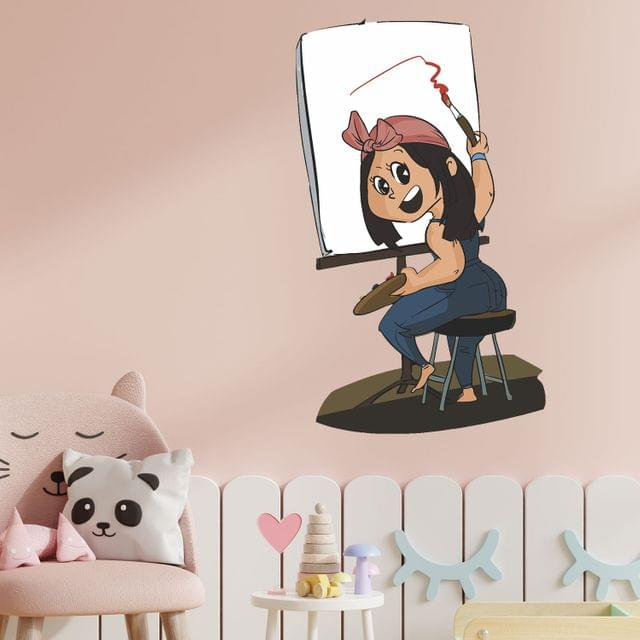 """DIY Wall Stickers Girl Painter for Home Décor (24""""X18"""")"""