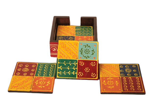 Wooden Hand-painted Tea Coaster
