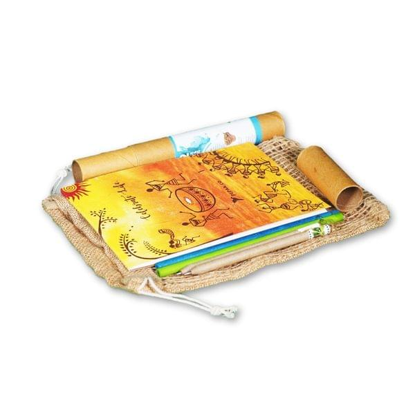 Plantable Mini Stationery Jute Bag Kit (Plantable pencil, Plantable Pen and Plantable Notepad in a jute bag)