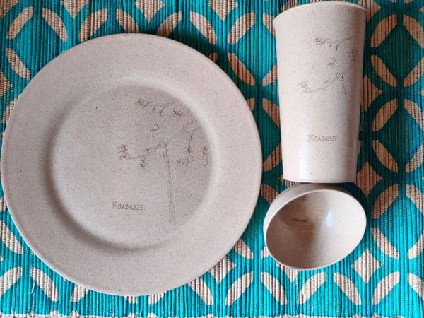 Rice Husk Dinnerware (1 Plate, 1 Glass, 1 Bowl)