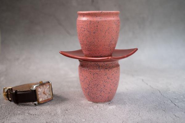 Earthen Pink Kullad with blue speckles Set of 2 Kullads – 1 set